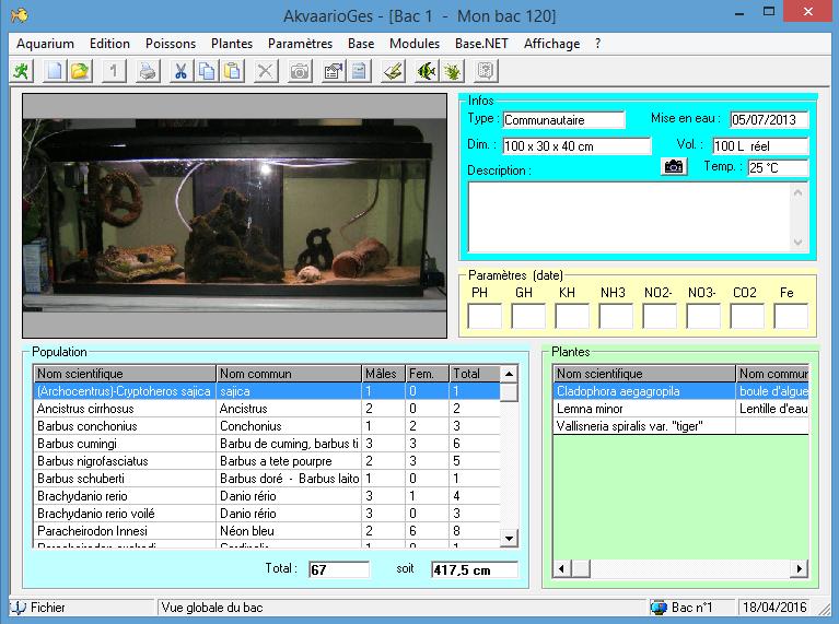 Logiciel avec License gratuit pour la gestion de votre aquarium AkvaarioGes.